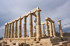 Tempel von Poseidon am Kap Sounion Attica Greece Stockfotos