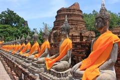 Tempel Wat Yai Chai Mongkol in Ayutthaya; Thailand Lizenzfreie Stockbilder
