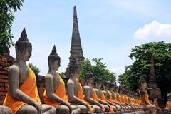 Tempel Wat Yai Chai Mongkol in Ayutthaya; Thailand Stockbilder