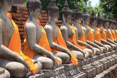 Tempel Wat Yai Chai Mongkol in Ayutthaya; Thailand Stockfotos
