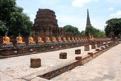 Tempel Wat Yai Chai Mongkol in Ayutthaya; Thailand Stockbild