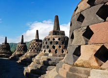 tempel yogyakarta för borobudurindonesia stupa Arkivbild