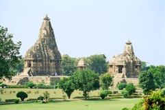 Indien erotiska tempel i Khajuraho Arkivbilder
