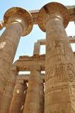 Tempelet av Karnak Kolonner på det stora Hypostyle, Luxor, Egypten Arkivfoto