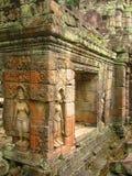 tempelet för angkorasparacarvings walls wat Royaltyfria Bilder