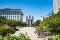 Tempelfyrkant i Salt Lake City Fotografering för Bildbyråer