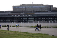Tempelhofer Feld Berlin. CIRCA JUNE 2014 - BERLIN: impressions from the Tempelhofer Feld, the former airport of Berlin-Tempelhof which has been redesigned as a Stock Photo