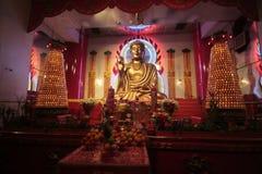 Tempelinterior för NYC Budhist Arkivbild
