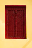Tempelrotfenster Stockfoto