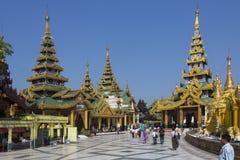 De Pagode van Shwedagon complexe - Yangon - Myanmar Stock Foto