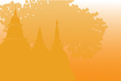 Tempels en pagoden in mooi landschap Stock Fotografie