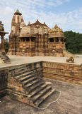 Tempels in Khajuraho, India stock foto's