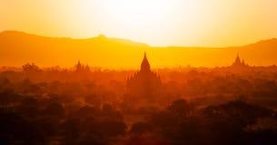 Tempels van bagan bij zonsondergang, Birma (myanmar) Stock Afbeelding
