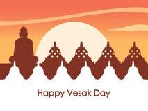 Tempelsilhouet bij Dawn For Vesay Day Greeting-Achtergrond vector illustratie