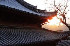 Tempelsolnedgång Arkivbild