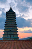 Tempelsonnenuntergang Lizenzfreie Stockfotografie