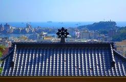 Tempeltak och Kaohsiung port Fotografering för Bildbyråer