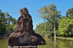 Tempelwacht in Preah Khan Royalty-vrije Stock Fotografie