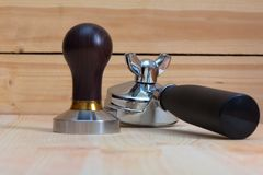 Temper and Holder barista tool. Tamper and Holder. barista tool for making espresso in restoran Royalty Free Stock Photos
