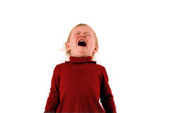 Temper Tantrum. A little girl, very upset, against a white background Royalty Free Stock Photography