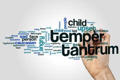 Temper tantrum word cloud. Concept on grey background stock photos