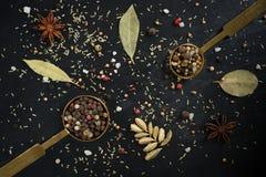 Tempera grãos de pimenta da vista superior, coentro, folhas de louro, anis de estrela, cardamomo Imagem de Stock Royalty Free