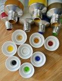 Tempera tubes. The tempera tubes to paint Royalty Free Stock Photos