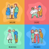 Temperament Types Design Concept. Including persons with different behavior during communication isolated on color background vector illustration Stock Images
