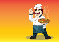 Temperamental Italian chef with appetizing hot piz Royalty Free Stock Photos