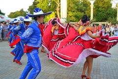 Temperamental Mexican dancers Stock Photo