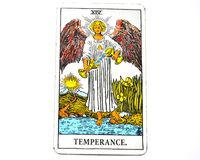 Temperance Tarot Card healing harmony adaptability. Temperance tarot card brings healing harmony adaptability balance maintaining a strong sense of equilibrium royalty free stock photos
