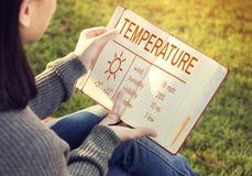 Temperatur-Hitze-heißes Wetter-Klima-Konzept Stockfotos