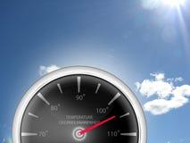Temperatur-Messgerät-Thermometer, der Fahrenheits-Grad für Hitzewellenwetter zeigt stockbild