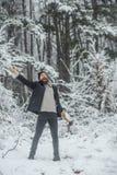 Temperatur och att frysa, kallt kn?pp, sn?fall royaltyfri bild