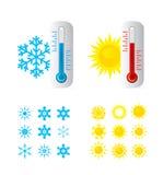 Temperatura caliente y fría del termómetro Fotos de archivo libres de regalías
