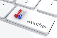 Temperatura caliente y fría del termómetro Imágenes de archivo libres de regalías