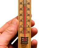 Temperatura, leyendo el termómetro Imagen de archivo