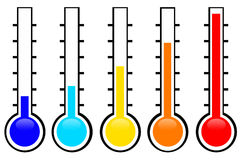 Temperature. Low and high temperatures on the thermometer Stock Image