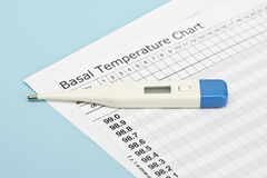 Temperature Chart. Basal temperature chart with thermometer to predict ovulation Stock Photo