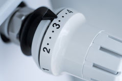 Temperature control knob. Heater temperature control knob with numbers and arrow Stock Image