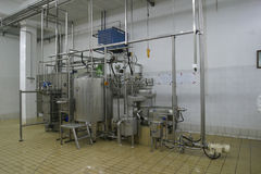 Temperature controlled tanks and pipes in modern dairy Stock Images