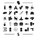 Temperature, cream and other web icon in black style. tattoo, typewriter, giraffe, toy icons in set collection. Stock Image
