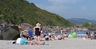Temperature elevate del tempo della spiaggia insolitamente, Regno Unito Immagini Stock
