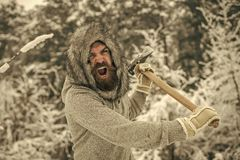 Temperature, freezing, cold snap, snowfall. Camping, traveling and winter rest. Man lumberjack with ax. Bearded man with axe in snowy forest. skincare and stock image
