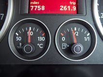 Temperature and Fuel gauge. From a car dashboard royalty free stock photos