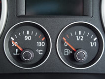 Temperature and Fuel gauge. From a car dashboard stock image