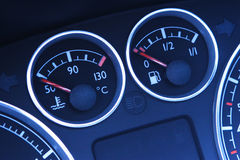 Temperature and Fuel Indicators Stock Photography