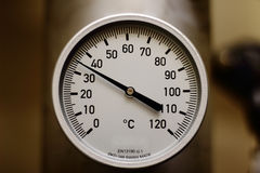 Temperature gauge. In industrial process Stock Photos