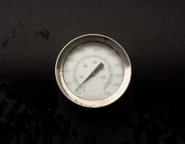 Temperature Gauge. A photo of a temperature gauge on a barbecue pit Royalty Free Stock Images