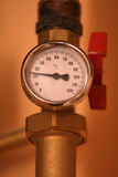Temperature gauge. Heating equipment in boiler-room stock photo